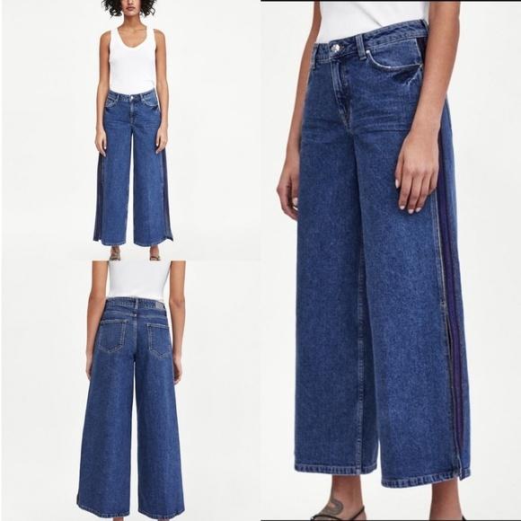 Zara Denim - Zara Basic Wide Leg Slit Hem Tuxedo Stripe Jeans
